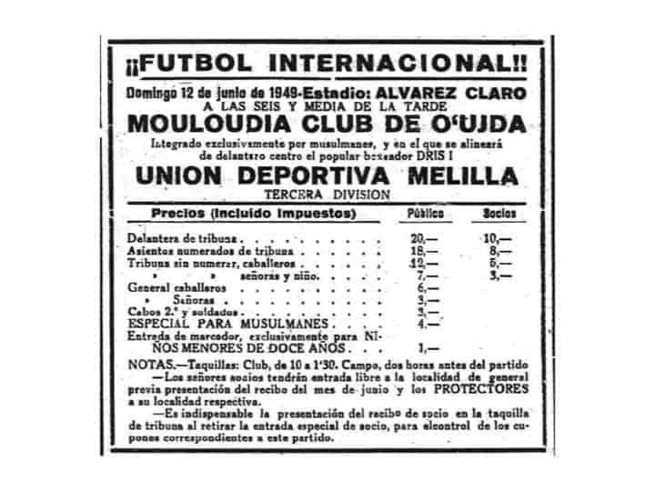 Cartel del partido disputado entre la UD Melilla y el Mouloudia en 1949