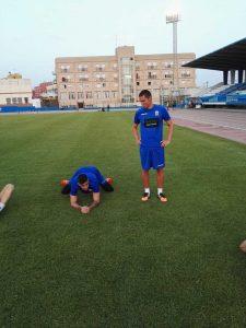 Borja Prieto, charlando ayer por la tarde con Dani Barrio en el entrenamiento